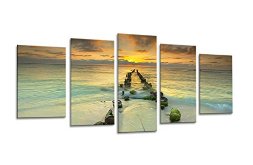 Sweety-Decor-Modern-Giclee-Sunrise-Artwork-Beach-Seascape-Paintings-Pictures-Canvas-Prints-in-5-Panelsset