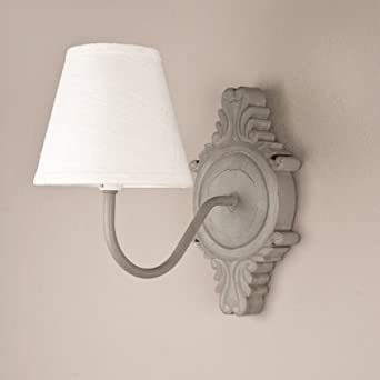 French Wooden Wall Lights : Set of 2 Ornate French Grey Wooden Wall Lights with Ivory Shades H30xW25xD20cm: Amazon.co.uk ...