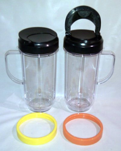 2 Bullet On The Go Mugs for Magic Bullet with Flip Top Travel Lids (Magic Bullet Lids compare prices)
