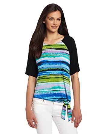 Leo & Nicole Women's Missy Tie Front Print Scoop Neck Top, Blue Pink, Medium