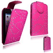 Cellularvilla (Trademark) Case for Apple Ipod Touch Itouch 4 4g GEN 4 Pink Glitter Diamond Leather Flip Open Case Cover Pouch. Includes Cellularvilla (TM) wrist band.