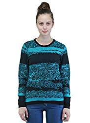 Women's Round Neck Full Sleeves Jacquard Structured Cotton Sweater