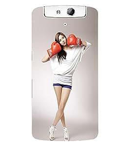 Fuson 3D Printed Cool Girl Wallpaper Designer Back Case Cover for Oppo N1 - D745