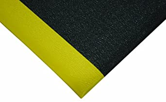 Wearwell PVC 427 SoftStep Light Duty Anti-Fatigue Mat, for Dry Areas, Black / Yellow