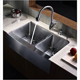 "Kitchen Combos Farmhouse 33"" Double Bowl Kitchen Sink with Kitchen Faucet and Soap Dispenser"