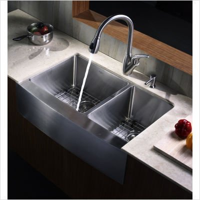 33 inch Farmhouse Double Bowl Stainless Steel Kitchen Sink with Kitchen Faucet and Soap Dispenser