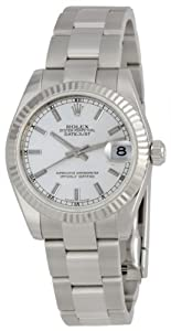 Rolex Datejust Silver Index Dial Oyster Bracelet 18k White Gold Fluted Bezel Unisex Watch 178274SSO
