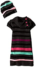 Girls Rule Little Girls\' Dark Striped Sweater Dress with Hat, Charcoal Grey, 5