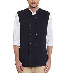 Hypernation Navy Blue Double Breast Waistcoat For Men