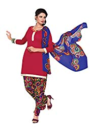 Trendz Apparels Red Cotton Patiala Salwar Suit