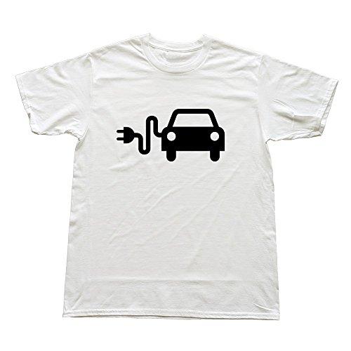 Mens Electric Car Custom Funny White T-Shirt By Rrg2G