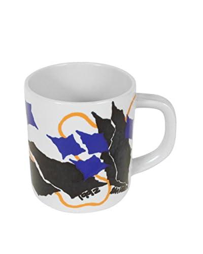 Royal Copenhagen 1992 Anniversary Mug, White/Blue/Black/Orange