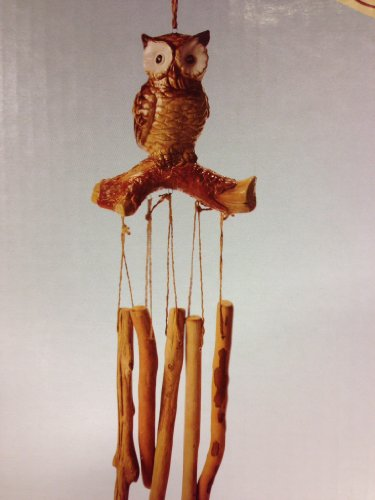 Ceramic Owl Wind Chime (Wooden Chimes)