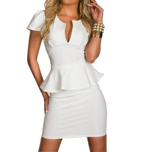 Qiyun sexy Clubwear u Hals Schößchen Strecke bodycon ol Karriere kurze Mini-Kleid Sexy Club-Wear Cocktail Abendkleid Kleid Damen Kleider