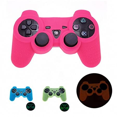 PINK GLOW in DARK Playstation 3 PS3 Wireless Game Controller Anti-Slip Silicone Case Skin Protector Cover (Many Colors Available)