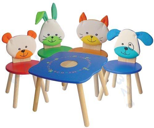 Kinder Sitzgruppe Tiermotive 1 Kindertisch 4 Kinderstühle jetzt kaufen