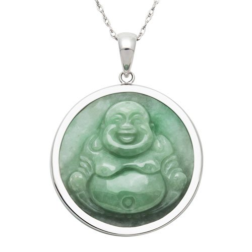 Sterling Silver, Green Jade Smiling Buddha Pendant Necklace , 18