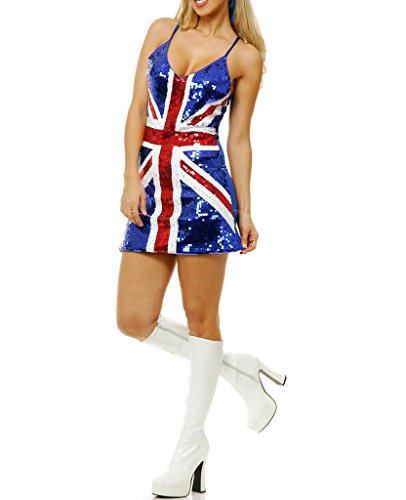 Thiness Women Sequins UK Flag Bodycon Spaghetti Strap Club Dance Dress