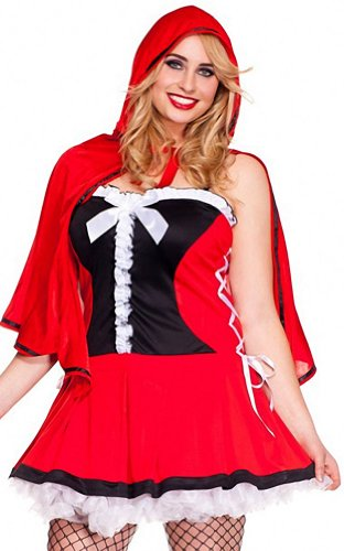 ToBeInStyle Women's 2 Piece Red Riding Hood Dress w/ Hooded Cape & Basket