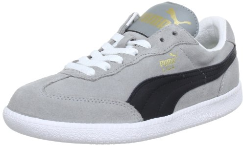 Puma Unisex - Adult Liga Suede Low Top Gray Grau (limestone gray-black-white 71) Size: 40
