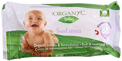 Organyc 100% Cotton Baby Wipes, 180 Count