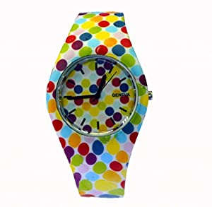 Style Gift Women Ladies Flower Print Rubber Unisex Quartz Watch SG1237-#7