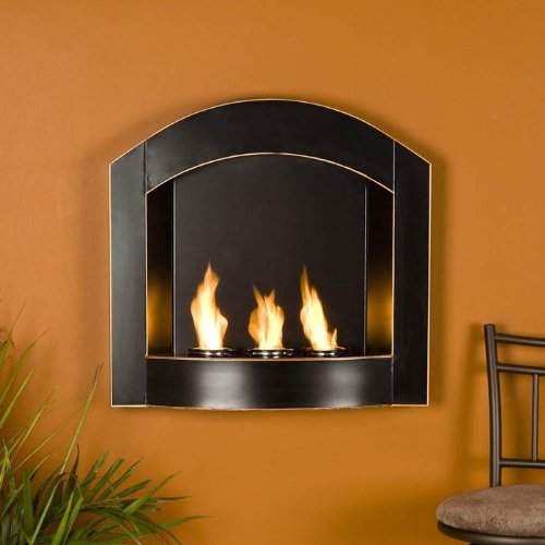 New SEI Black Arch Top Wall Mount Gel Fuel Fireplace