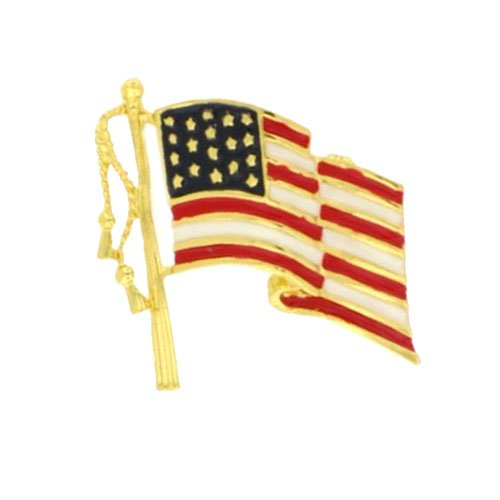 18k Gold Tone Flag Pin