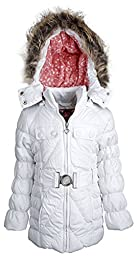 Dollhouse Baby Girls Down Alternative Removable Hood Winter Puffer Coat - White (24 Months)