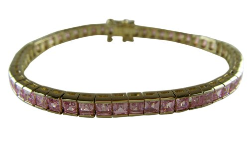 Gold Tennis Bracelet With Pink Stones - Gold Tennis Bracelet With Simulated Pink CZ Diamonds