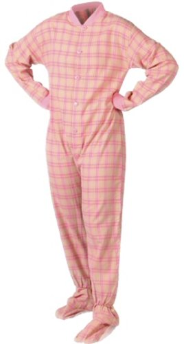 Pink & Yellow Plaid Flannel Adult Footed Pajamas No Drop Seat (S) front-527001