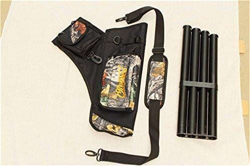 Oliasports® Archery Bow Arrow Shoulder and Hip Quiver with Pockets and 4 Tubes Camo Padded with Shoulder Strap