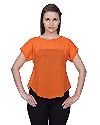 Glam Dollz Women's Poly Georgette Regular Fit Top (Small,Orange)