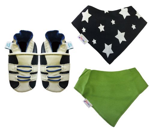 Dotty Fish Baby Boys' Soft Leather Shoe with two Bandana Bibs Gift Box