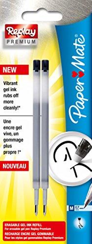 paper-mate-replay-premium-refill-erasable-gel-pen-medium-tip-07mm-black-pack-of-2
