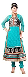 Rudra Fab Skyblue embroidered georgette semistitched salwar suit
