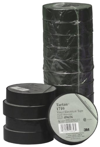 3M Tartan 1710 Vinyl Economical General Purpose Insulating Electrical Tape, 176 Degree F, 60' Length x 3/4
