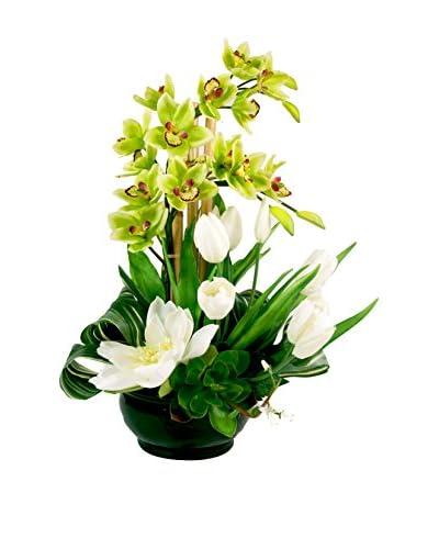 Creative Displays Cymbidium Orchid Tulips & Lotus in Ceramic Container, Green/White
