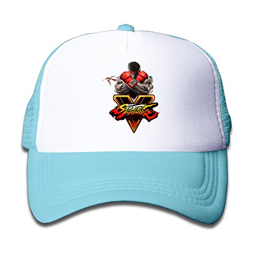 [Y1T2FF Kids Street Game Mesh Snapback Baseball Cap Hat SkyBlue] (Chun Li Wig)