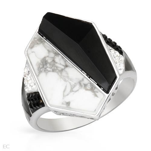 Ring With Crystals, Onyx and Simulated gems in Two tone Enamel and 925 Sterling silver. Total item weight 6.6g (Size 10.5)