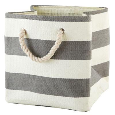 Storage Bins: Grey Stripes Around The Cube Bin front-165461