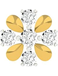TBZ - The Original Floral 18k Yellow Gold And Diamond Nosepin - B01BD4N4QS