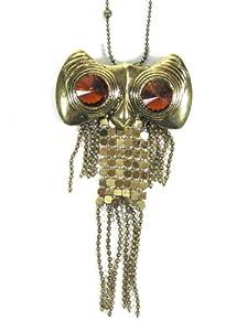 Chain Mesh Fringe Owl Necklace Vintage Retro Gold Tone NJ55 Crystal Charm Pendant Fashion Jewelry