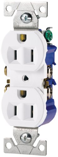 Cooper Wiring Devices 270W-SP-L Standard Grade Straight Blade Duplex Receptacle with 15-Amp, 125-Volt, 5-15-NEMA Rating, White