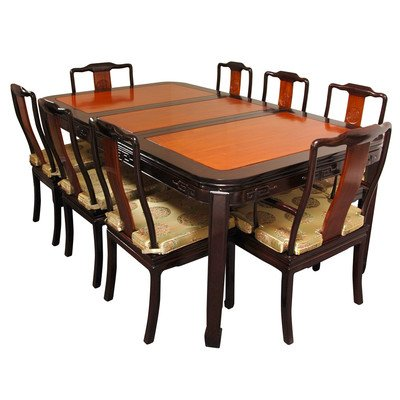 Oriental Furniture 96-Inch Chinese Rosewood Dining Room Set with 8 Chairs, Two Tone Finish