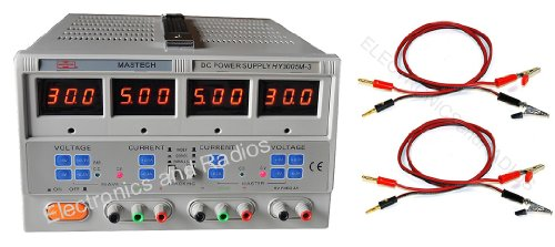 Hy3005M-3 Triple Linear Touch Panel Dc Power Supply Quad Led Display Meters By Mastech With 2 X 3 Feet Heavy Duty Test Leads / Cables