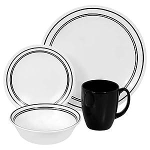 Corelle Livingware 16 piece Dinnerware Set, Service for 4, Classic Café Black