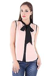 Bonheur Women's Bow Neck Peach Shirt (BH-022-Peach-XL_Peach_XLarge)