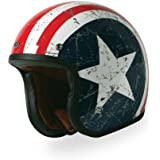 TORC (T50 Route 66) 3/4 Helmet with 'Rebel Star' Graphic (White, XX-Large)