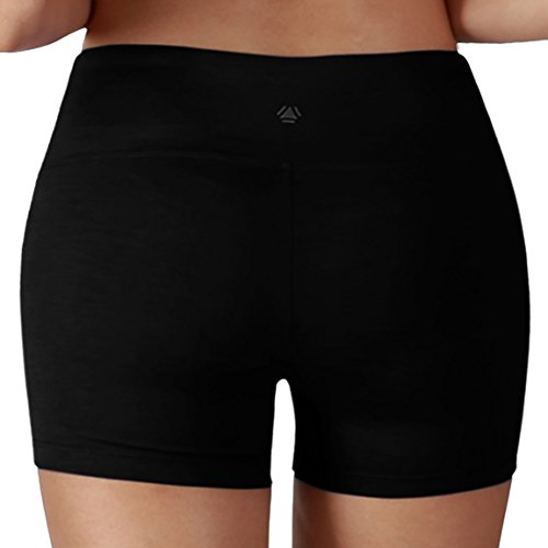 Yoga Reflex - Yoga Shorts for Women - Running Yoga Short Pants - Hidden Pocket , Black , Medium